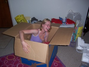 Me in a box during the summer between sophomore and junior year.